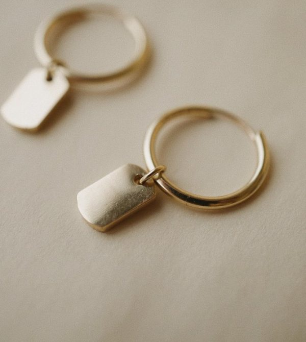 Dog Tag Charm Hoops *made-to-order
