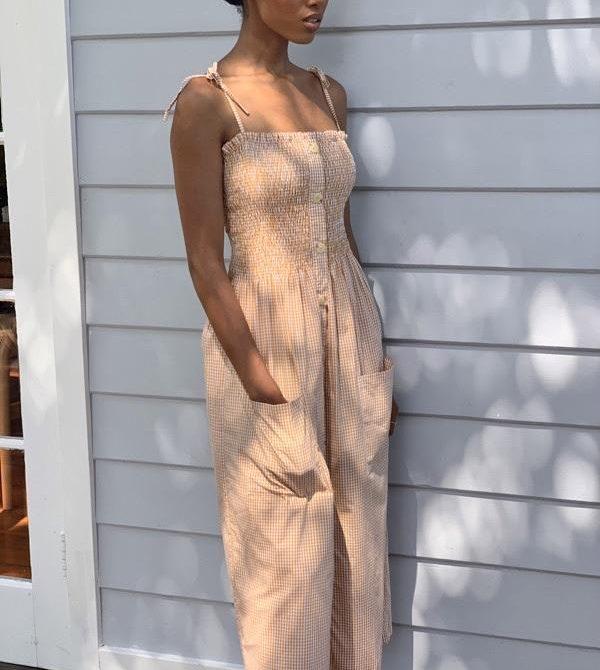 Alexa Golden Gingham Dress