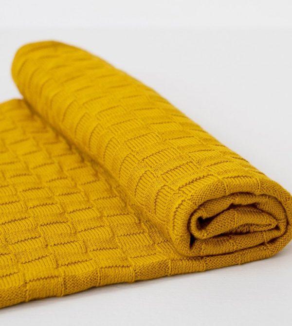 Basketweave Baby Blanket (Tumeric)