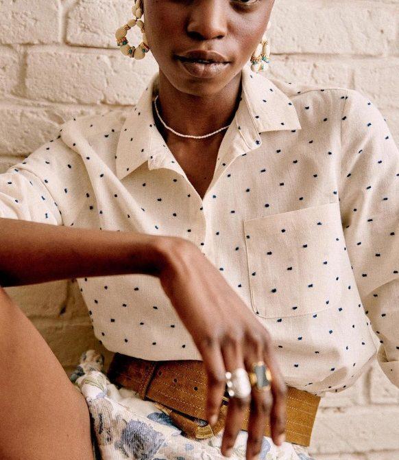 Tomboy Shirt – Ecru / Blue Dots – Cotton – Sézane
