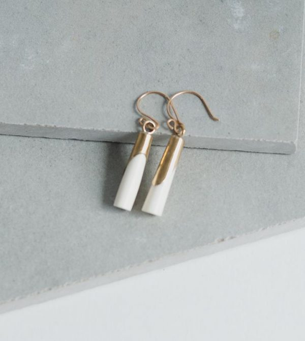 Wrapped Bone and Brass Earrings