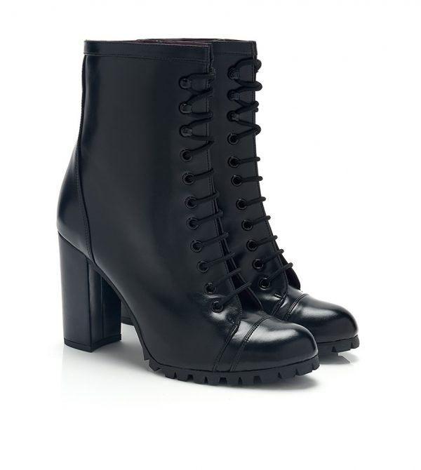 BLACK LACE-UP HIGH HEEL VEGAN BOOTS