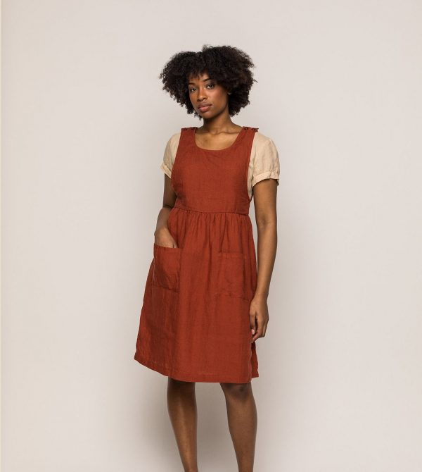 The Pinafore in Devon Red Linen