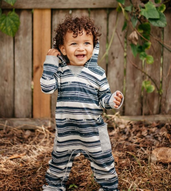 Stamped Stripe Organic Baby Hooded Jumpsuit