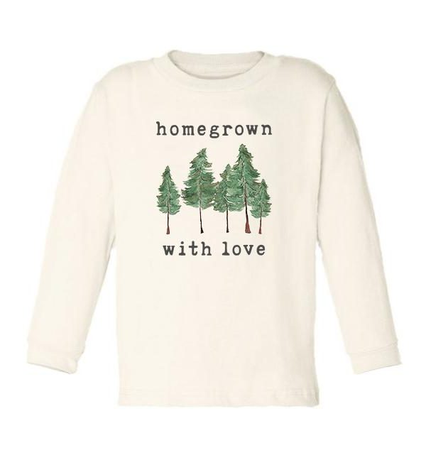 "Organic ""Homegrown with Love"" Forest Edition Unbleached Toddler Tee, Long Sleeve"
