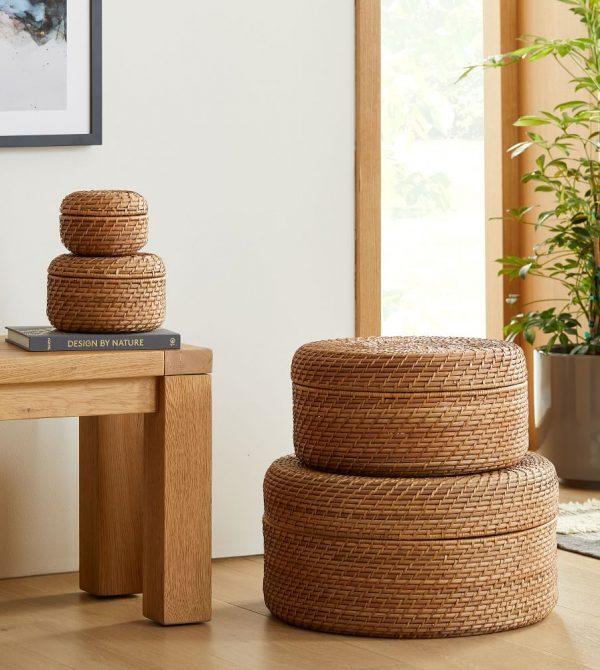 Modern Weave Round Lidded Baskets