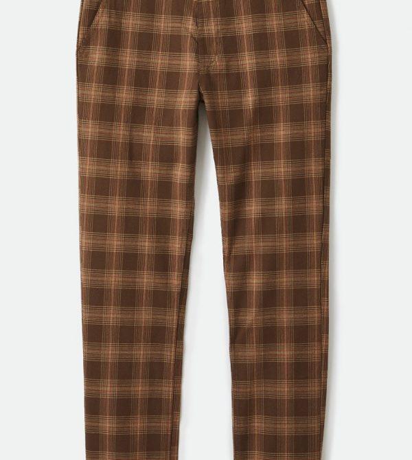 Choice Chino Pant – Washed Brown Plaid- brixton