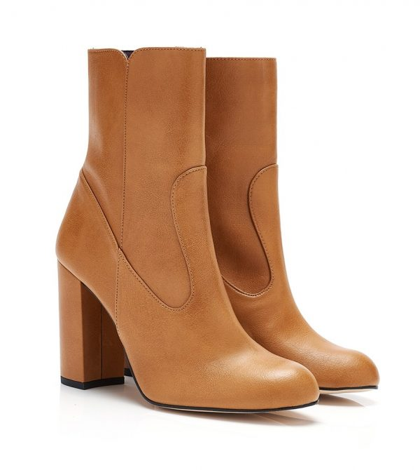 Morgan B Camel Faux Leather Vegan Ankle Boots