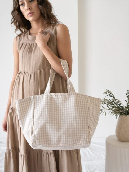 Natural Dye Tote - Gingham - LAUDE the Label