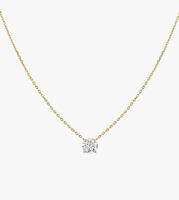 Solitaire Round Brilliant Diamond Necklace