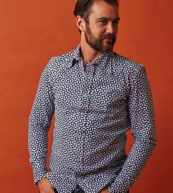 Passion Lilie Hex Flex Men's Button Down Shirt – Organic Cotton