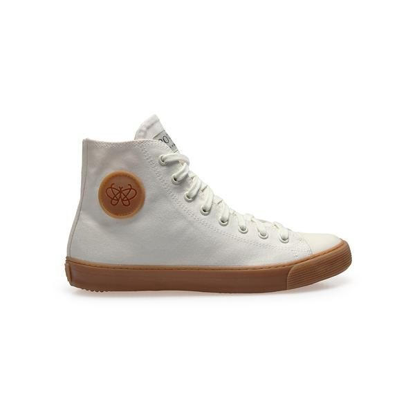 Po-Zu's BEAUT Off-White High Top Vegan Mens Sneakers