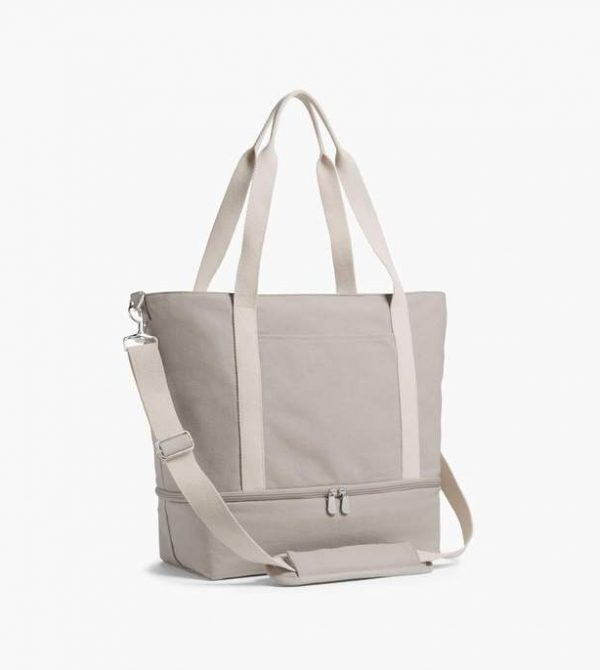 The Catalina Deluxe Tote – Washed Canvas – Dove Grey