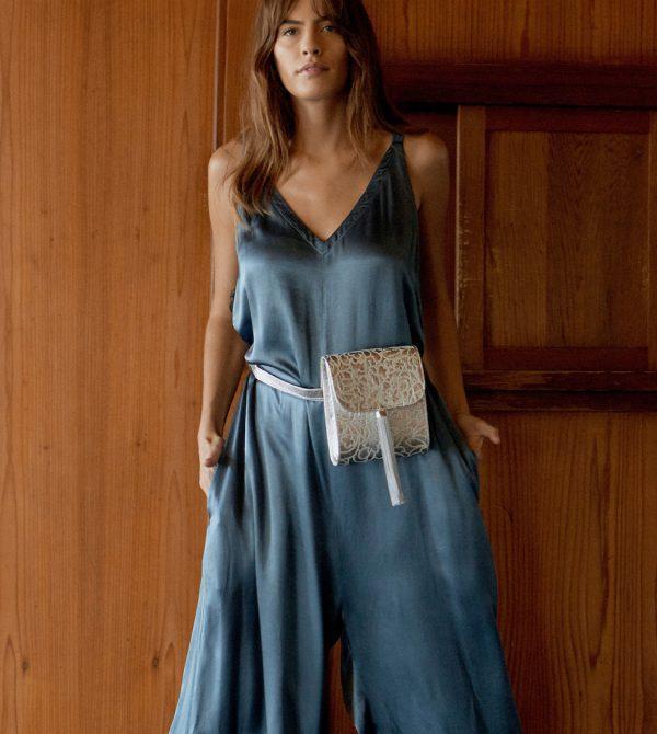 Gigi Tassel Bag in Silver Piñatex