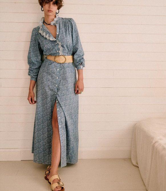 Savanah Dress – Floral blue white – Organic Cotton – Sézane