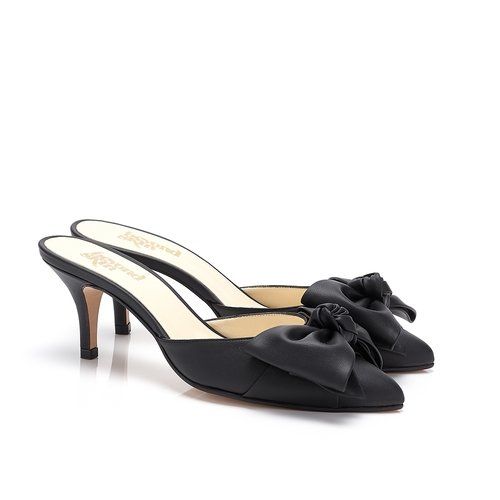 Venus Black Faux Leather Bow Vegan Mules