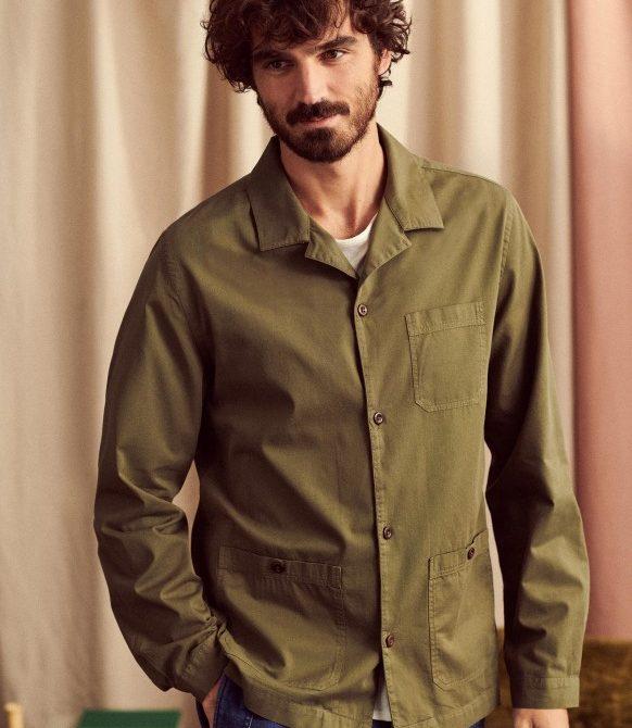 Almafi Olive Cotton Over-Shirt