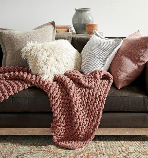 Chunky Hand-Knit Throw- potterybarn