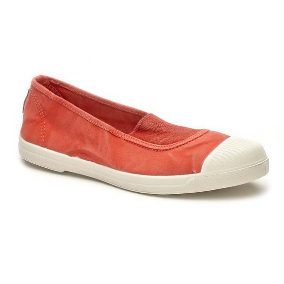 Washed Red Slip On Cotton Plimsolls