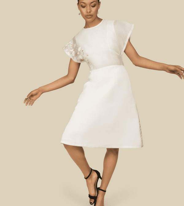 Silk Embroidered White Dress